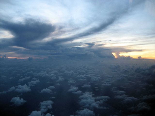Storm seen at sunset during mission to Hurricane Karl. Picture