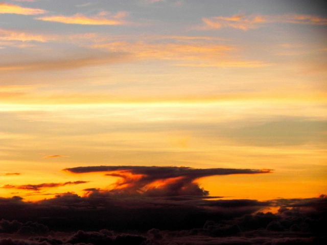 Thunderstorm anvil seen at sunset during mission to Hurricane Cristobal Picture