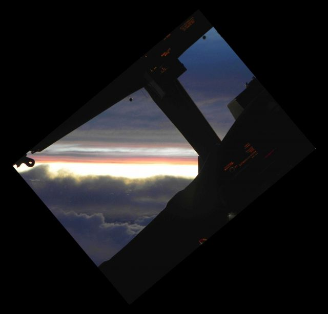 Sunset seen from cockpit during Hurricane Cristobal mission. Picture