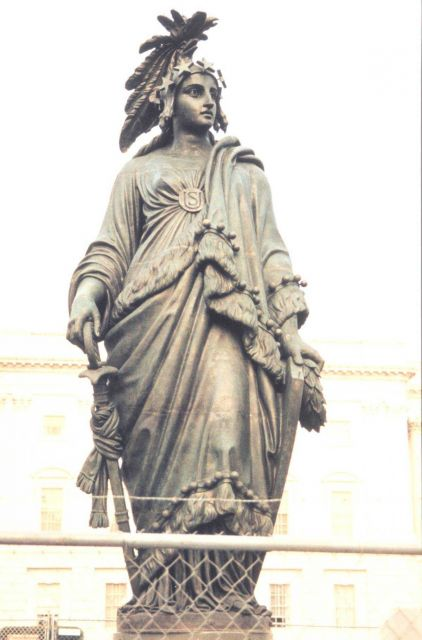 Statue of Freedom after restoration work and prior to being placed back atop the Capitol Building. Picture