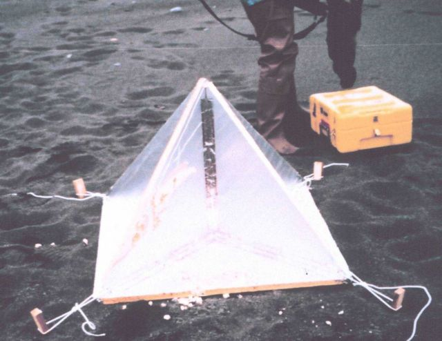 Close-up of home-made radar reflector constructed from house insulation covered with aluminum foil Picture