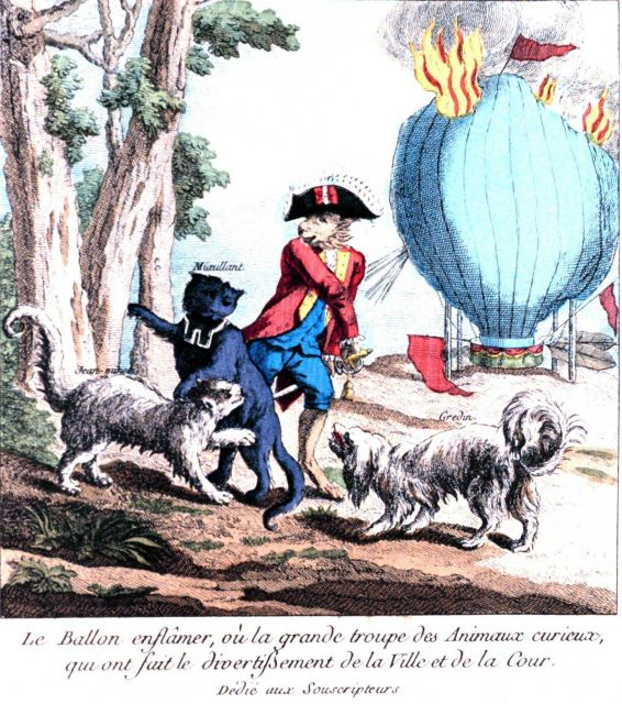 A strange cartoon of animals with a balloon in flames in: