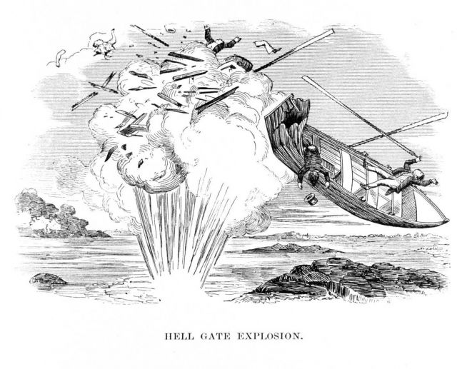 A Francis metallic lifeboat surviving an explosion during the removal of rocks at Hell Gate in the East River, tidal passage between the Hudson River  Picture