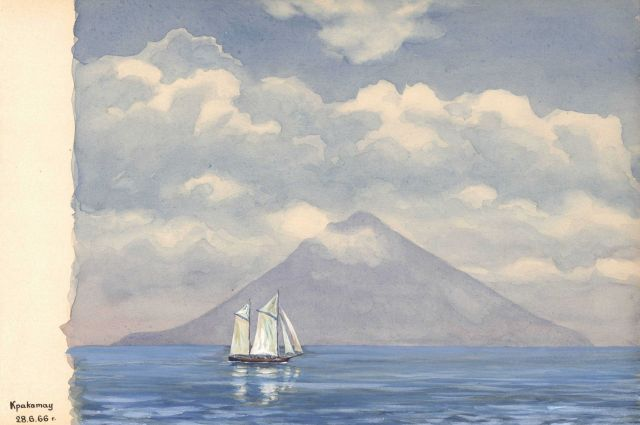 Sailboat on a calm day with a perfectly conical New Zealand volcano in the distance. Picture