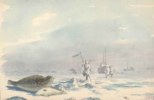 Seal hunters on the Arctic ice. Picture