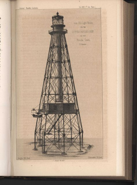 Artist's conception of an iron pile lighthouse to be erected at Coffin's Patches Reef, Florida Keys Picture