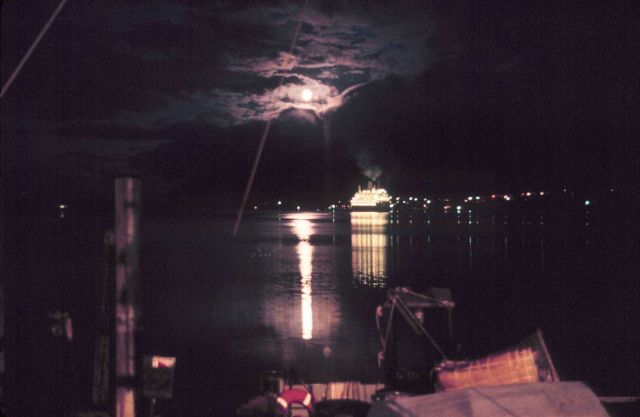 Cruise ship at Juneau in the moonlight Picture