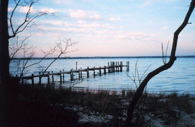 Looking east away from the sun during a sunset along the lower Patuxent River. Picture