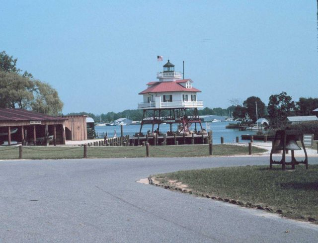 The Drum Point Lighthouse after being moved to Solomon's Island Picture