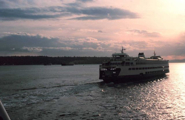 A ferryboat plying Puget Sound in the late afternoon. Picture