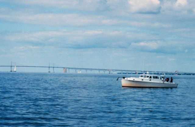 Fishing boat south of the Chesapeake Bay Bridge near the Severn River. Picture