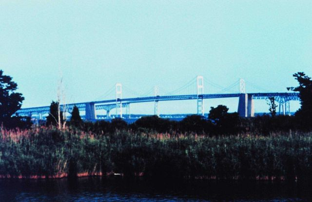 The Chesapeake Bay Bridge as seen from behind Sandy Point State Park. Picture