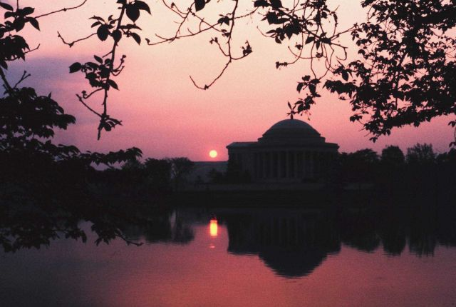 Sunset reflecting off the water at the Jefferson Memorial Picture