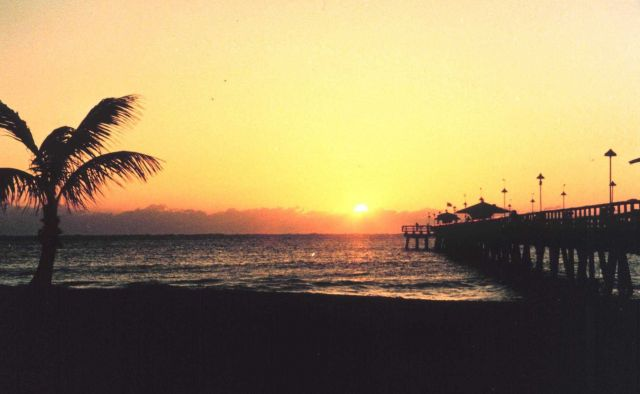 Sunset and fishing pier Picture