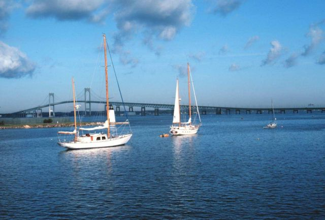 Sail boats with Newport Bridge in the background Picture