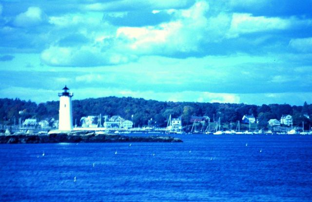 A view of the lighthouse guarding the harbor entrance. Picture