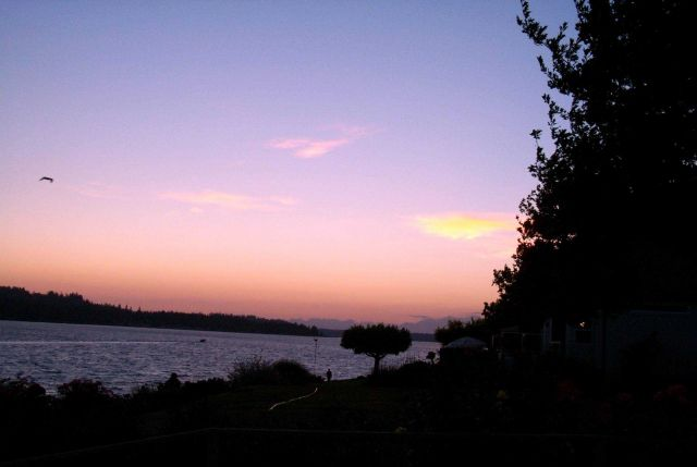 Fox Island and a silhouette of the Olympic Range as seen from Gig Harbor at sunset. Picture