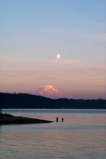 Fisherman's dream - sunset, moonrise, Mt Picture