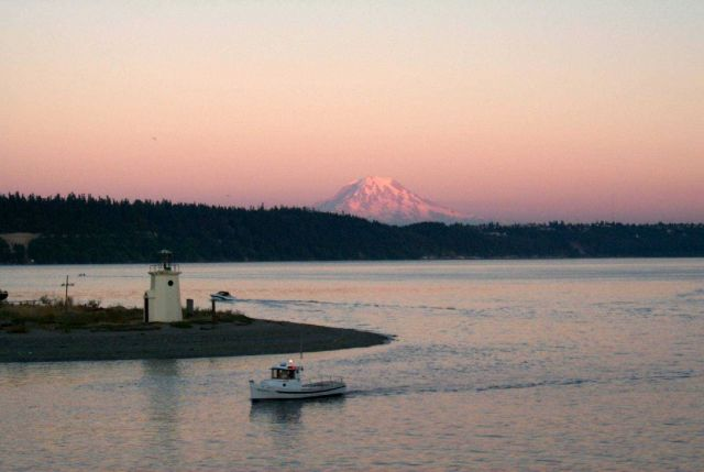 View of Mount Rainier at sunset from Gig Harbor. Picture