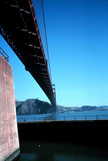 The Golden Gate Bridge as seen from the bridge's south pier looking north. Picture