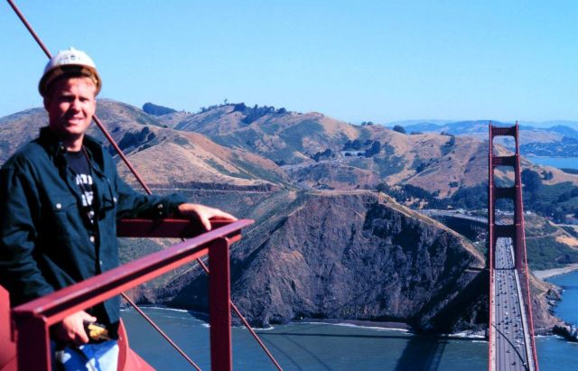 Richard Bourgerie of the NOAA NOS CO-OPS office atop the south tower of the Golden Gate Bridge on a glorious fall day. Picture