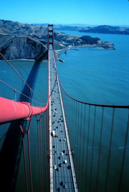 View from the top of the south tower of the Golden Gate Bridge looking north. Picture