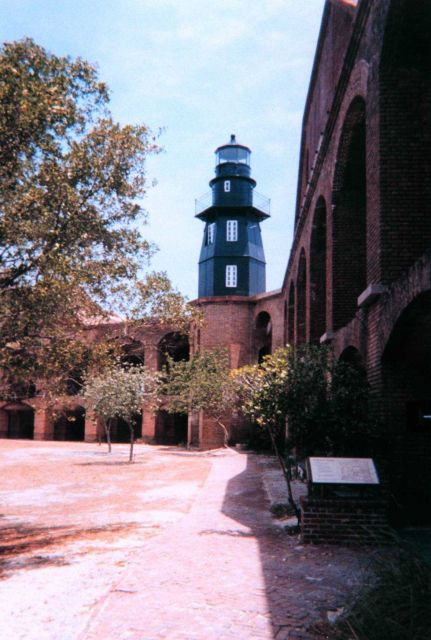 The lighthouse at Fort Jefferson, Dry Tortugas National Park, as seen from the interior of the fort. Picture