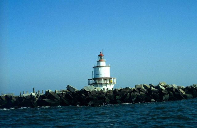 Brandywine Shoal Lighthouse seen at low tide in Delaware Bay. Picture
