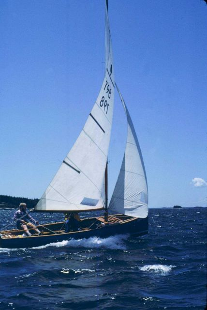 Sailing in Penobscot Bay in Thistle class sailboat. Picture