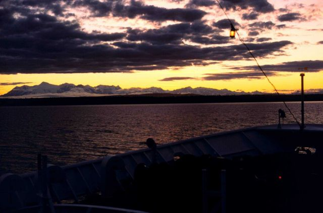 A sunset in Upper Cook Inlet taken from the bow of the FAIRWEATHER. Picture