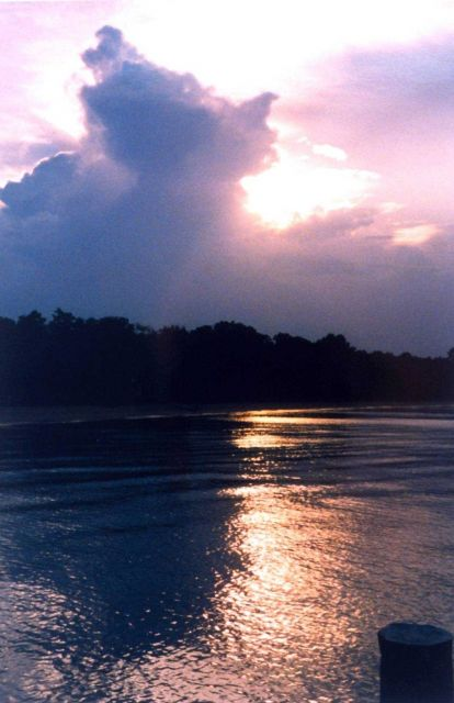 A thunderhead building over the Patuxent River at sunset. Picture