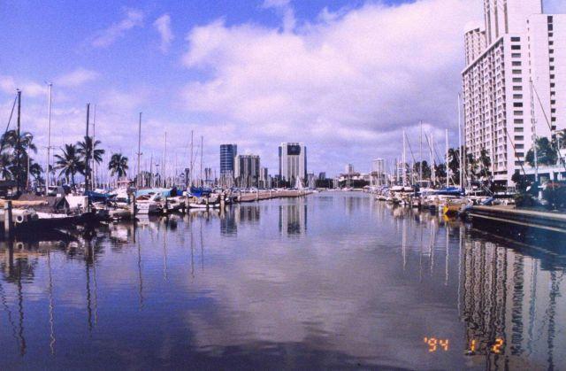 A view at the Ali Wai Yacht Harbor near Waikiki Beach. Picture