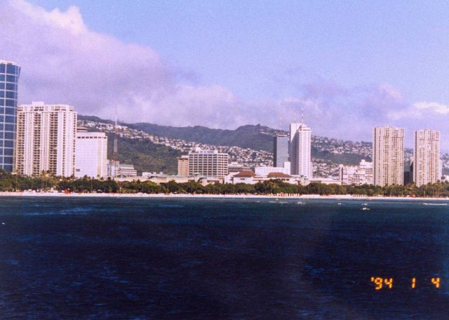 Waikiki hotels as seen from offshore. Picture