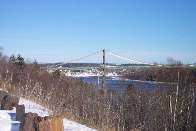 South pier of the Waldo-Hancock suspension bridge across the Penobscot River. Picture