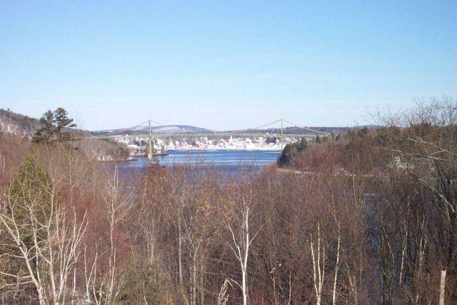 The Waldo-Hancock suspension bridge with Bucksport in the background. Picture