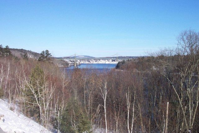 The Waldo-Hancock suspension bridge with Bucksport in the background. Picture