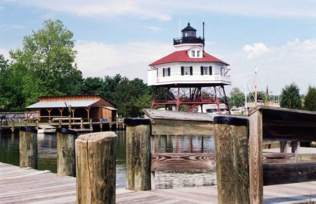 Drum Point Lighthouse at the Calvert Marine Museum. Picture