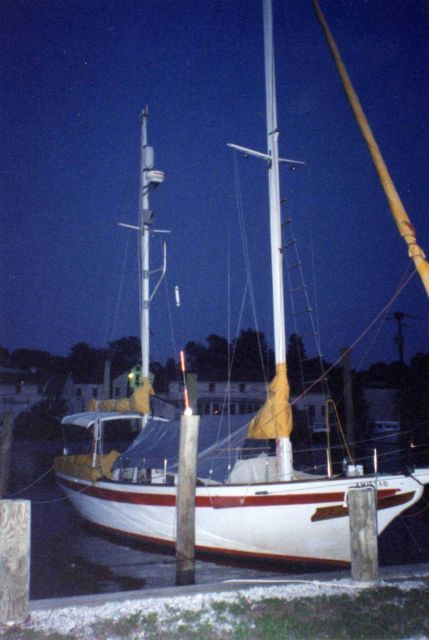 Sailboat at pier along the South River. Picture