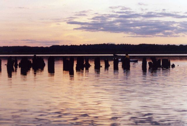 Sunset over the old ferry dock on the Patuxent River. Picture