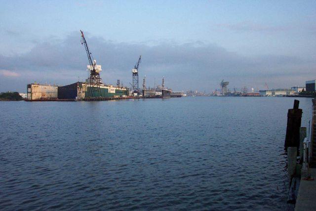 Shipyards on the Elizabeth River, Norfolk. Picture