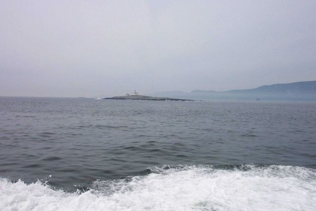 Egg Rock Island Lighthouse as seen leaving Bar Harbor on whale-watching cruise. Picture