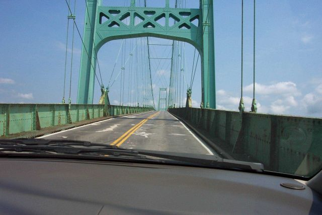 Heading over the Deer Isle suspension bridge on the way to Deer Isle. Picture