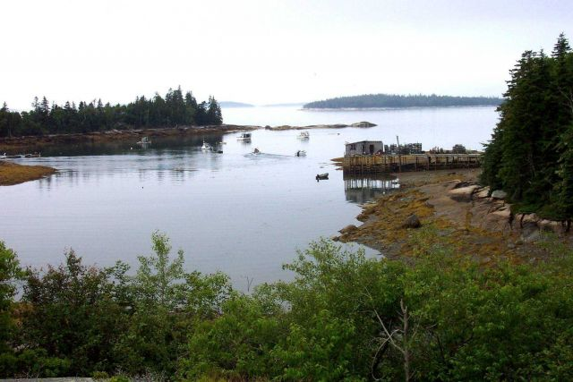 A lobster boat pier and boats at Sunshine, Maine. Picture