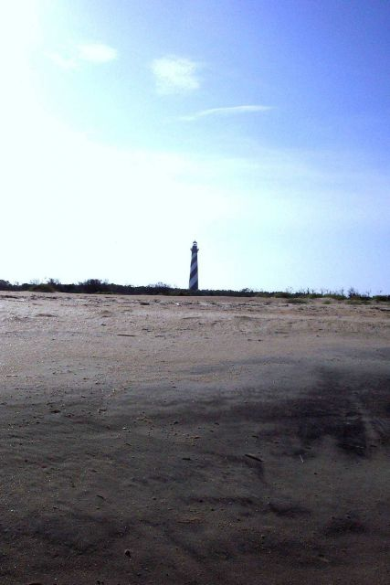 Cape Hatteras Lighthouse as seen from the Atlantic shore. Picture