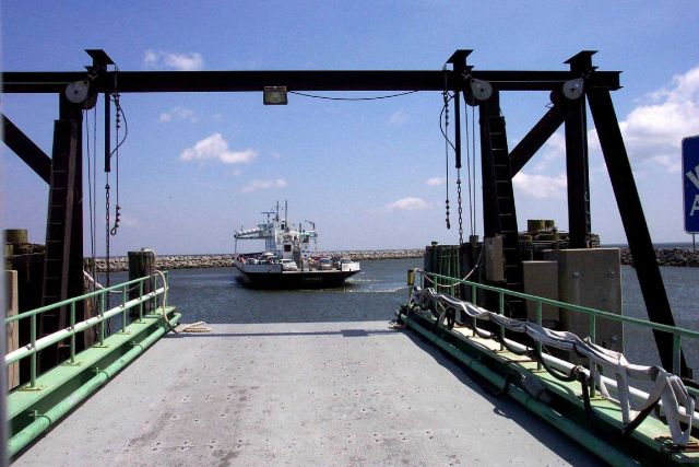 The Cedar Island to Ocracoke ferry boat CARTERET maneuvering to dock at Cedar Island. Picture