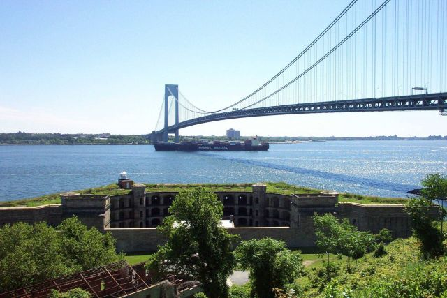 The 950-foot containership SEALAND COMMITMENT passing underneath the Verrazano Narrows Bridge. Picture