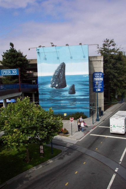 A humpback whale mural of mother and calf spy-hopping at Pier 39, near Fisherman's Wharf. Picture