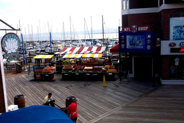 An open-air produce market on Pier 39, near Fisherman's Wharf. Picture
