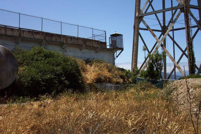 A guardhouse on the southeast corner of the main prison complex at Alcatraz. Picture