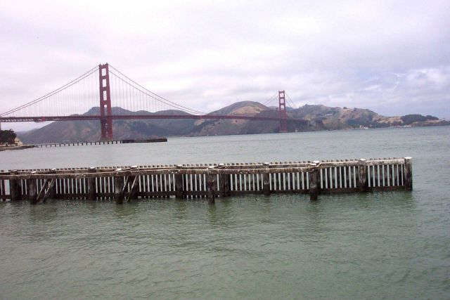 A view of the Golden Gate Bridge as seen from the NOAA Gulf of the Farallons National Marine Sanctuary Headquarters. Picture